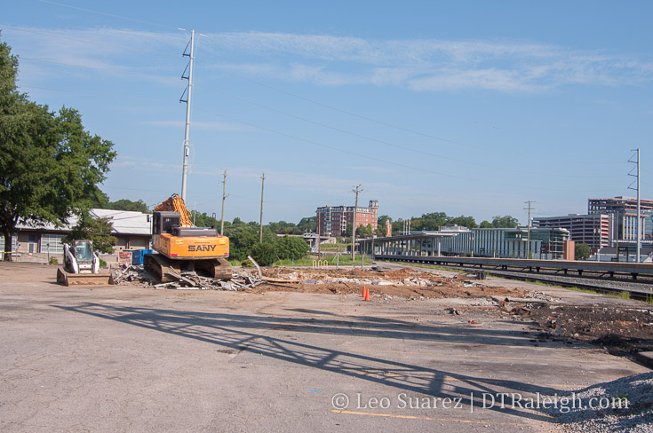 Demolition of the train station on Cabarrus Street. August 2018.