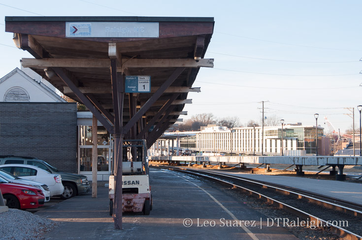 Platform waiting area of Raleigh Station. January 2018.