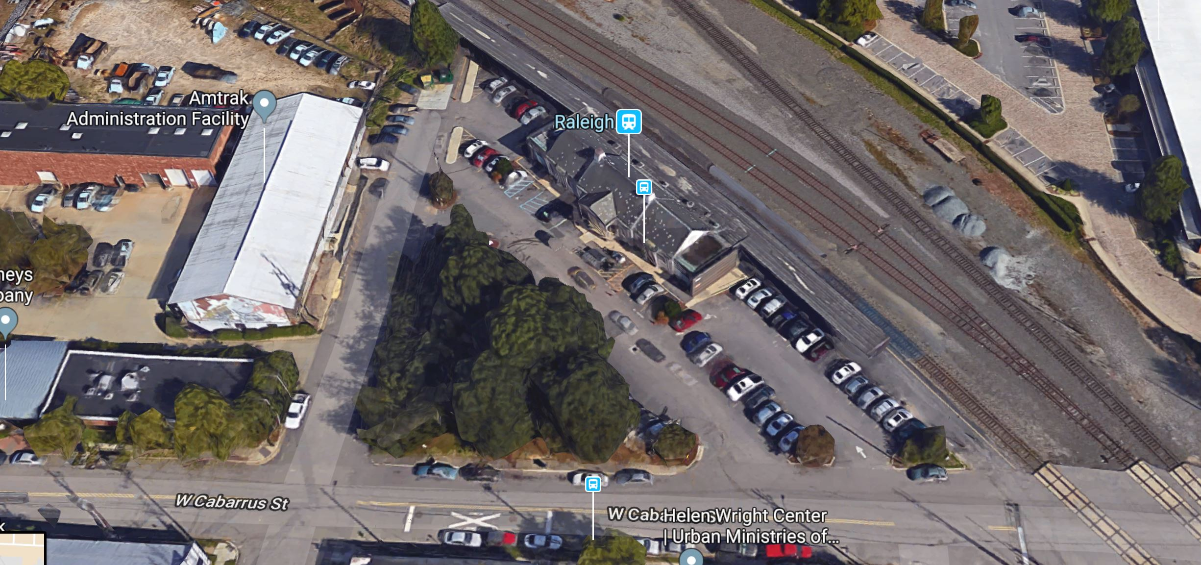 Google maps aerial of Raleigh Station.