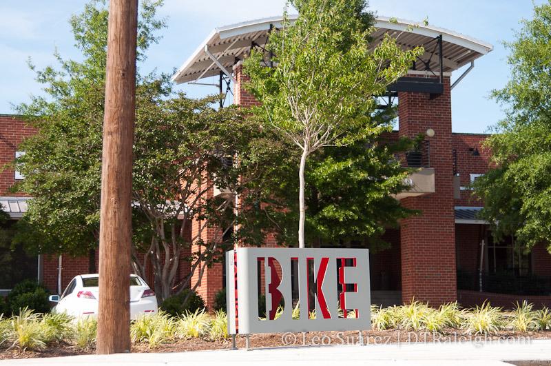 Bicycle rack along Seaboard Avenue.
