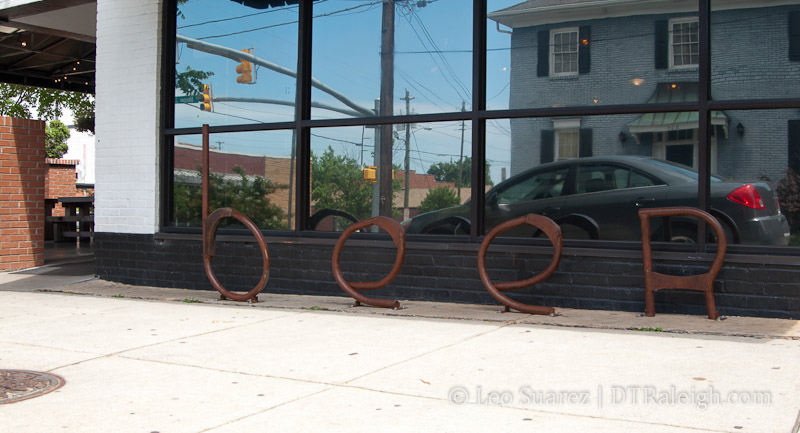 Bicycle racks outside of The Flying Saucer on Morgan Street.
