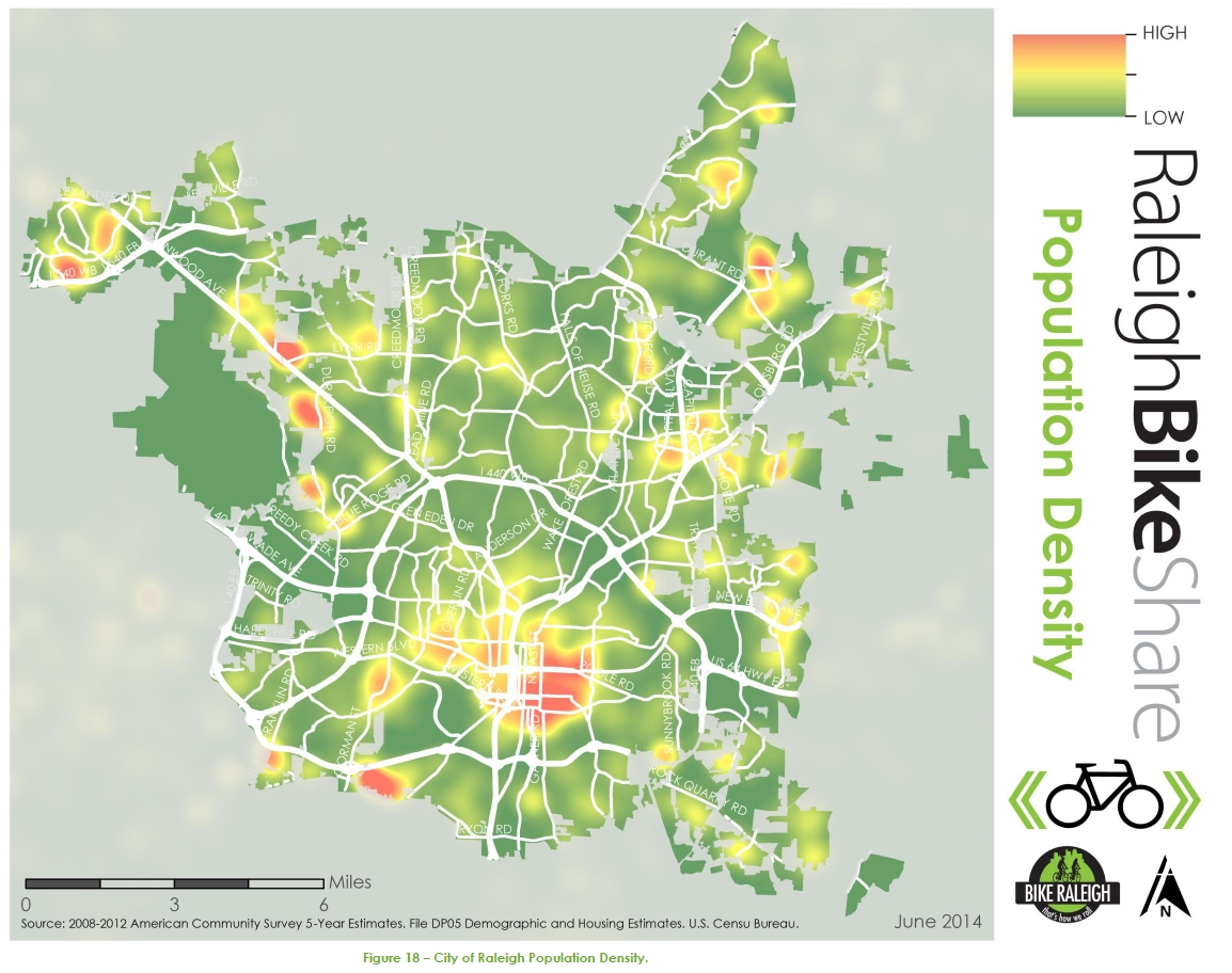 2014 Raleigh Bike Share Feasibility Study - Population Density