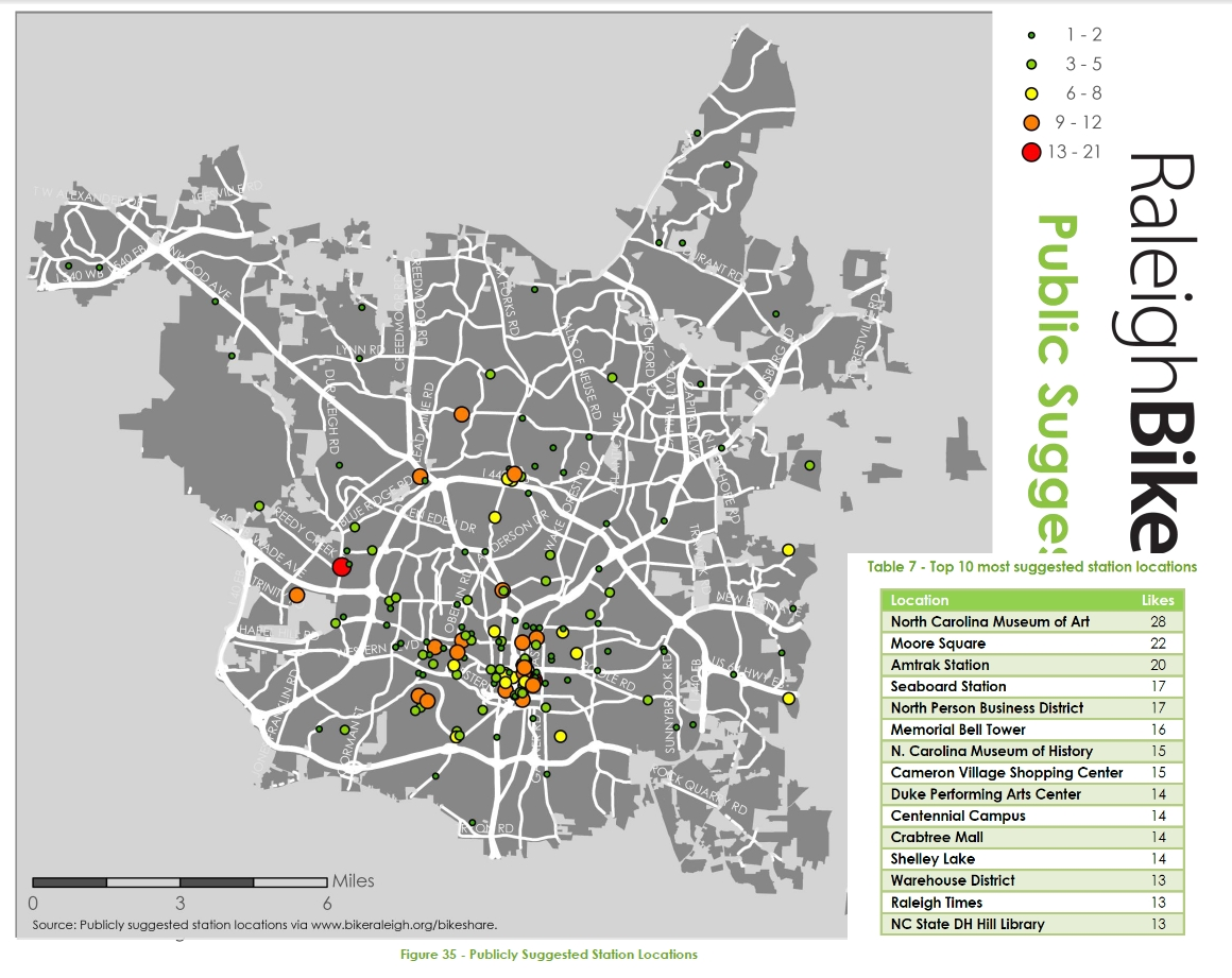 2014 Raleigh Bike Share Feasibility Study - Publicly Suggested Station Locations