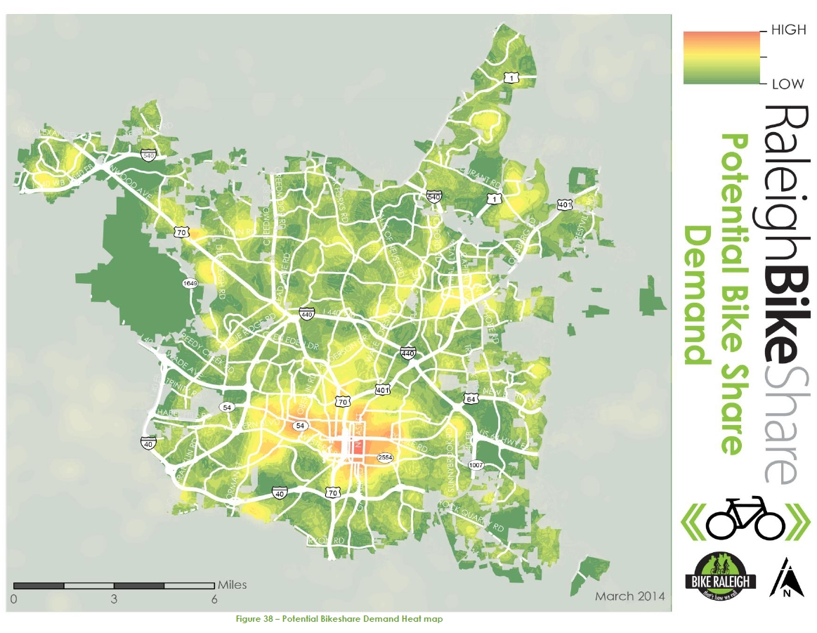 2014 Raleigh Bike Share Feasibility Study - Potential Bikeshare Demand Heat map
