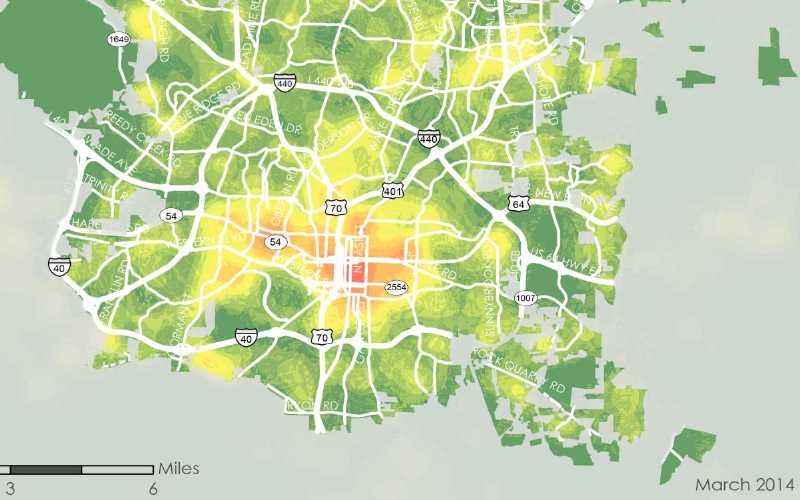 2014 Raleigh Bike Share Feasibility Study - Potential Bikeshare Demand Heat map