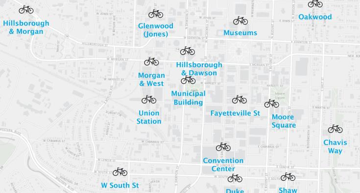 Subset of map of proposed bike share stations