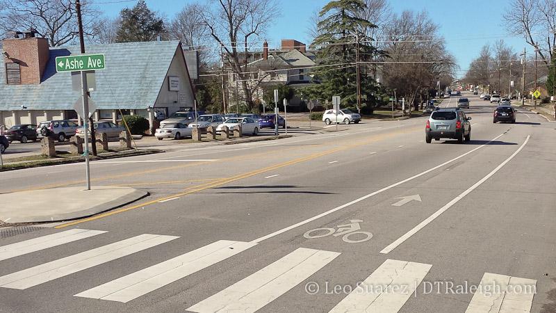 Bike lane on Hillsborough Street.