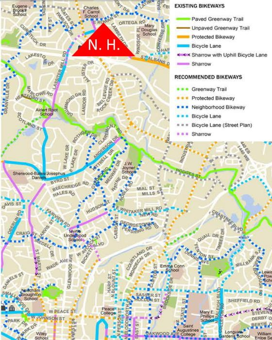 Recommended route to North Hills from downtown Raleigh