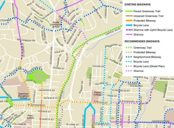 Recommended route to Five Points from downtown Raleigh