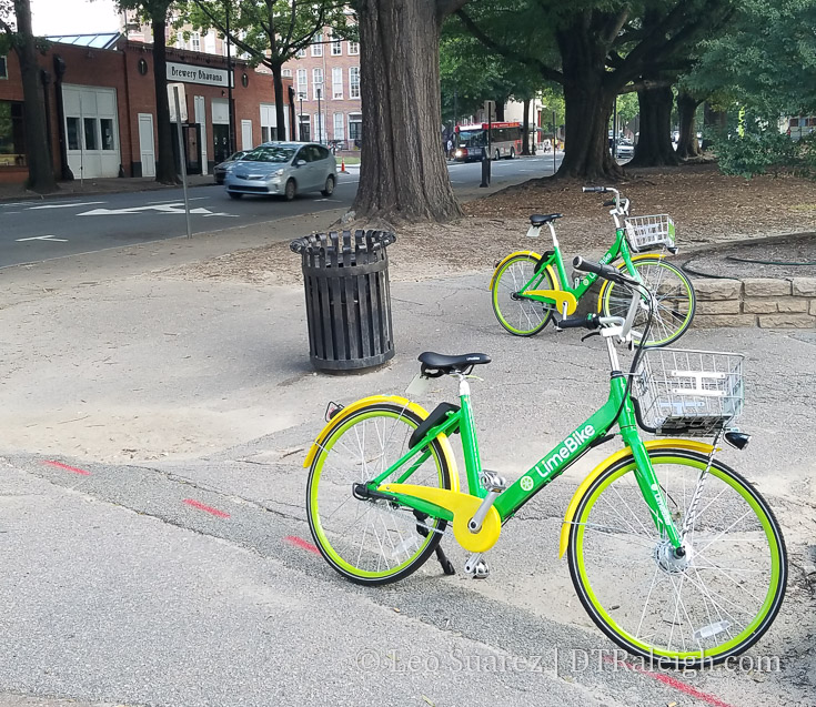 Limebike bicycles in Moore Square