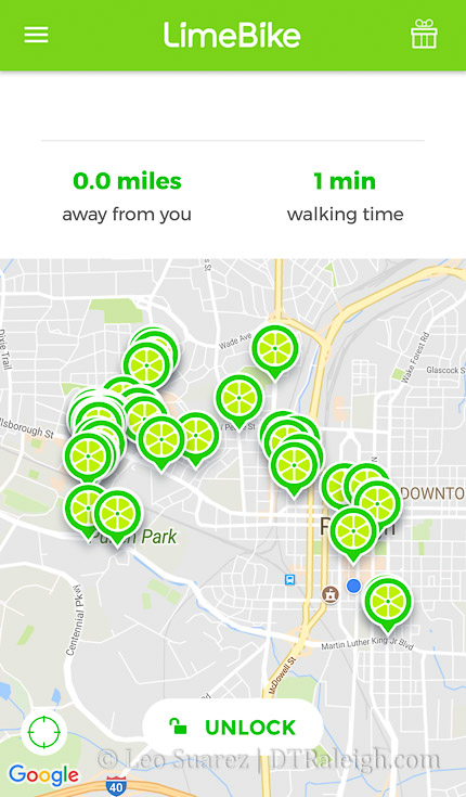 Screenshot of the Limebike app.