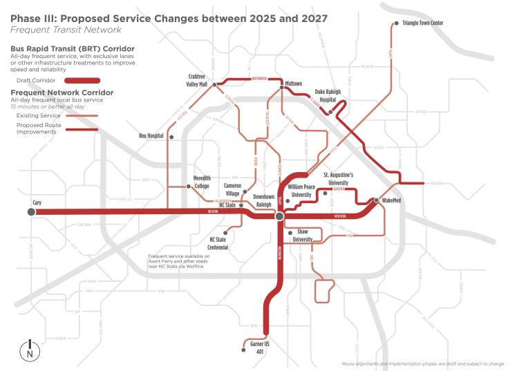 Frequent bus network plan for 2025-2027