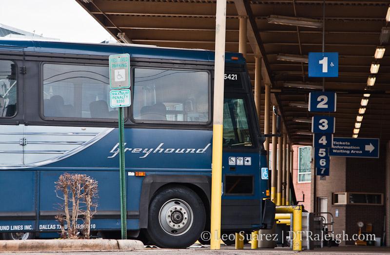 Greyhound Terminal on West Jones Street in downtown Raleigh