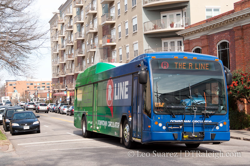 R-Line Bus in downtown Raleigh