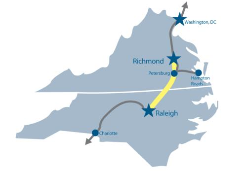 Map of SEHSR, Raleigh, NC to Richmond, VA