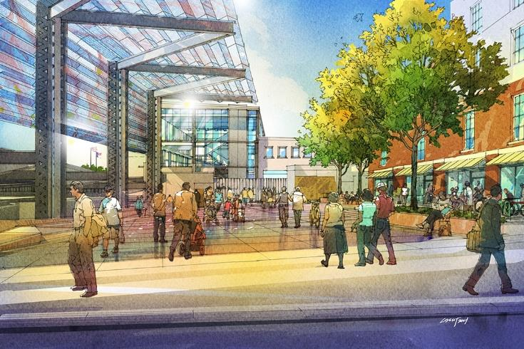 Rendering of Raleigh Union Station entrance plaza