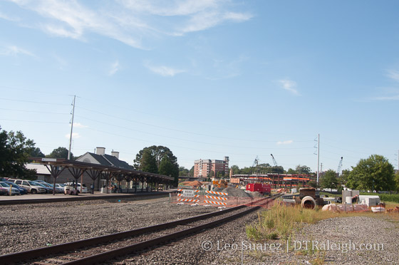 Track work taking pace around Raleigh Union Station.