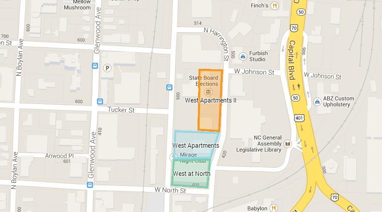 Map of the West Apartments sites