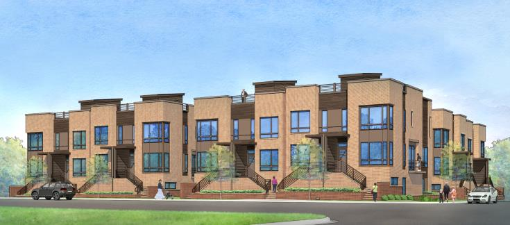 Rendering of West + Lenoir Townhomes