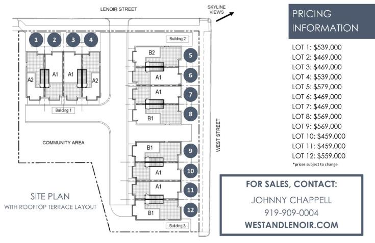 Rendering of West + Lenoir Townhomes